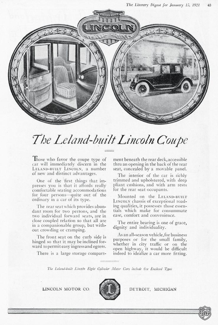 1921 Leland Lincoln ad. Courtesy Lincoln Motor Company