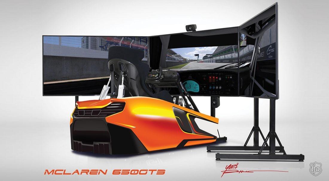 Mclaren custom racing simulator by indoor golf design in highline autos magazine